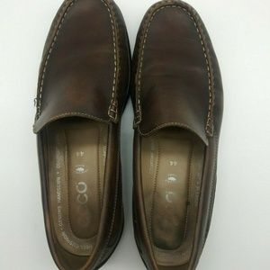 Ecco Brown Leather Moc Toe Driving Loafer 10-10.5